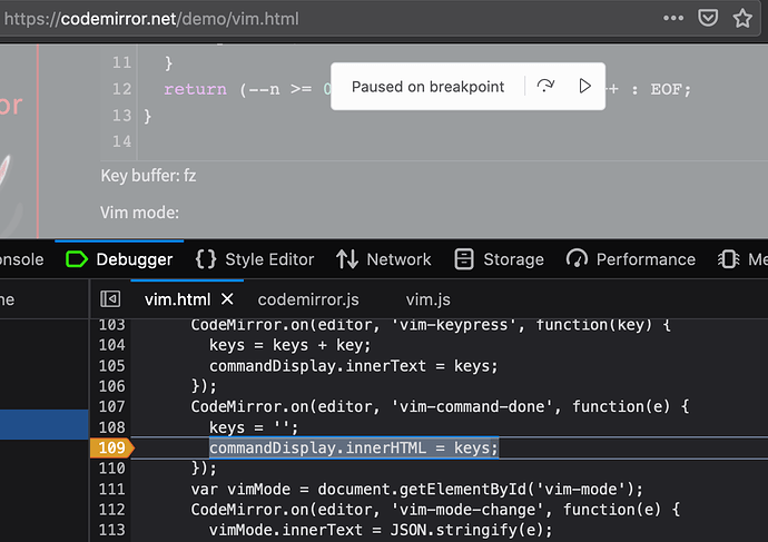 vim.js breakpoint screenshot